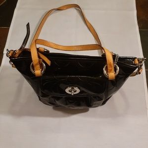Coach signature patent leather bag